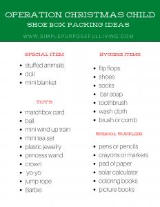 operation christmas child shoe box packing ideas