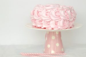 pink decorated cake for Valentine's Day