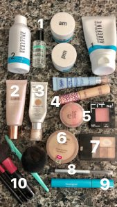 beauty products on counter