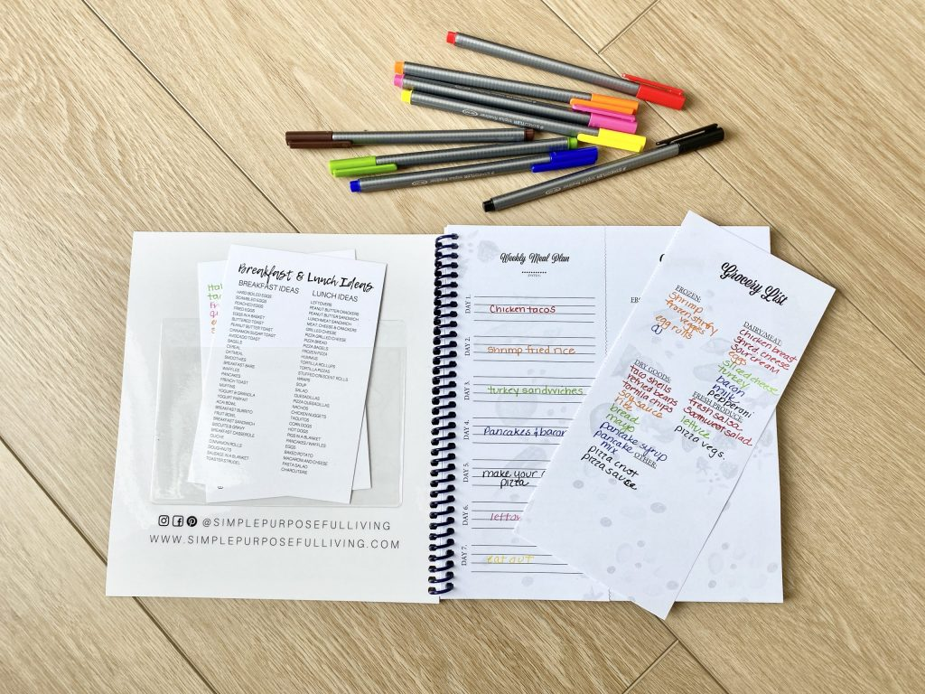 meal planner with accessory kit