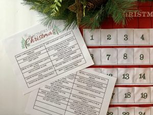 25 Days of Christmas activities printable with advent calendar