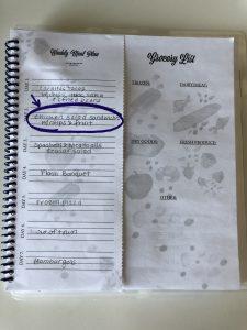 chicken salad recipe on meal planning journal