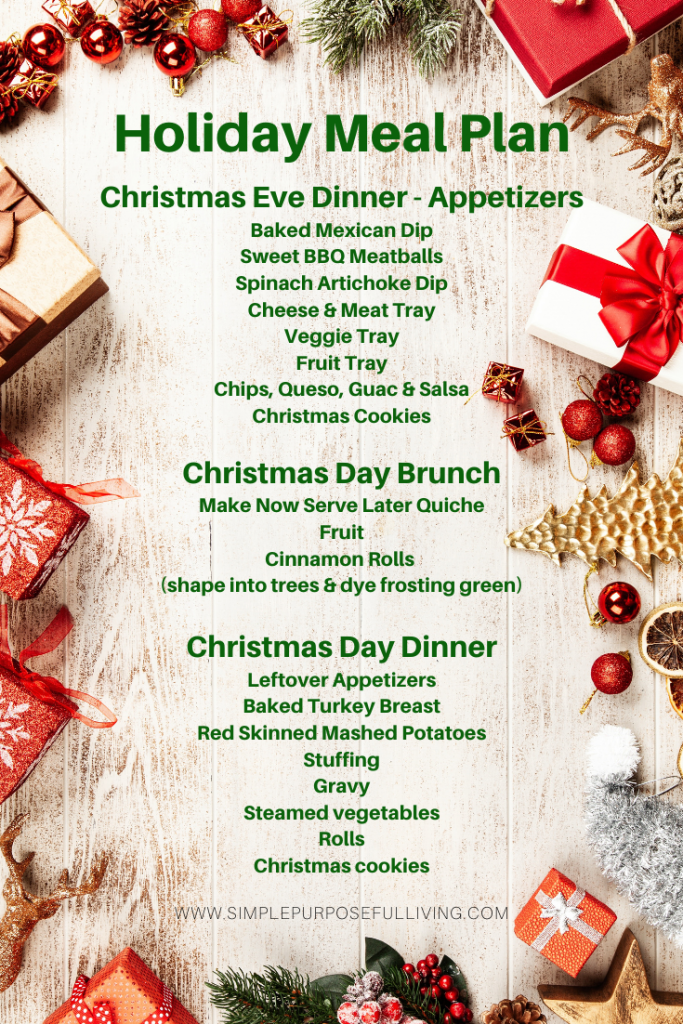 holiday meal ideas menu graphic