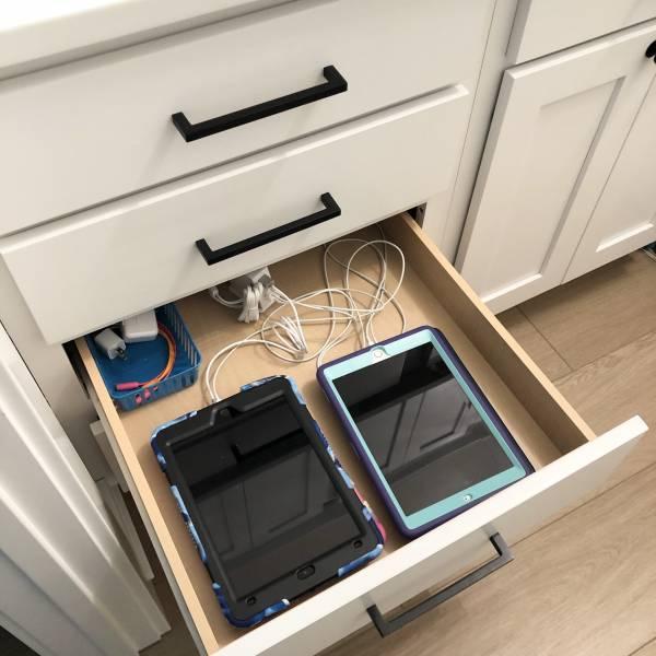 iPad charging station drawer DIY