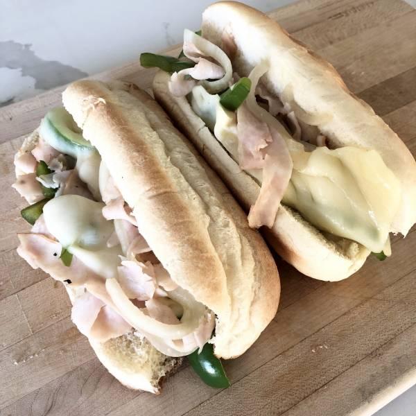 simple turkey cheesesteak sandwiches