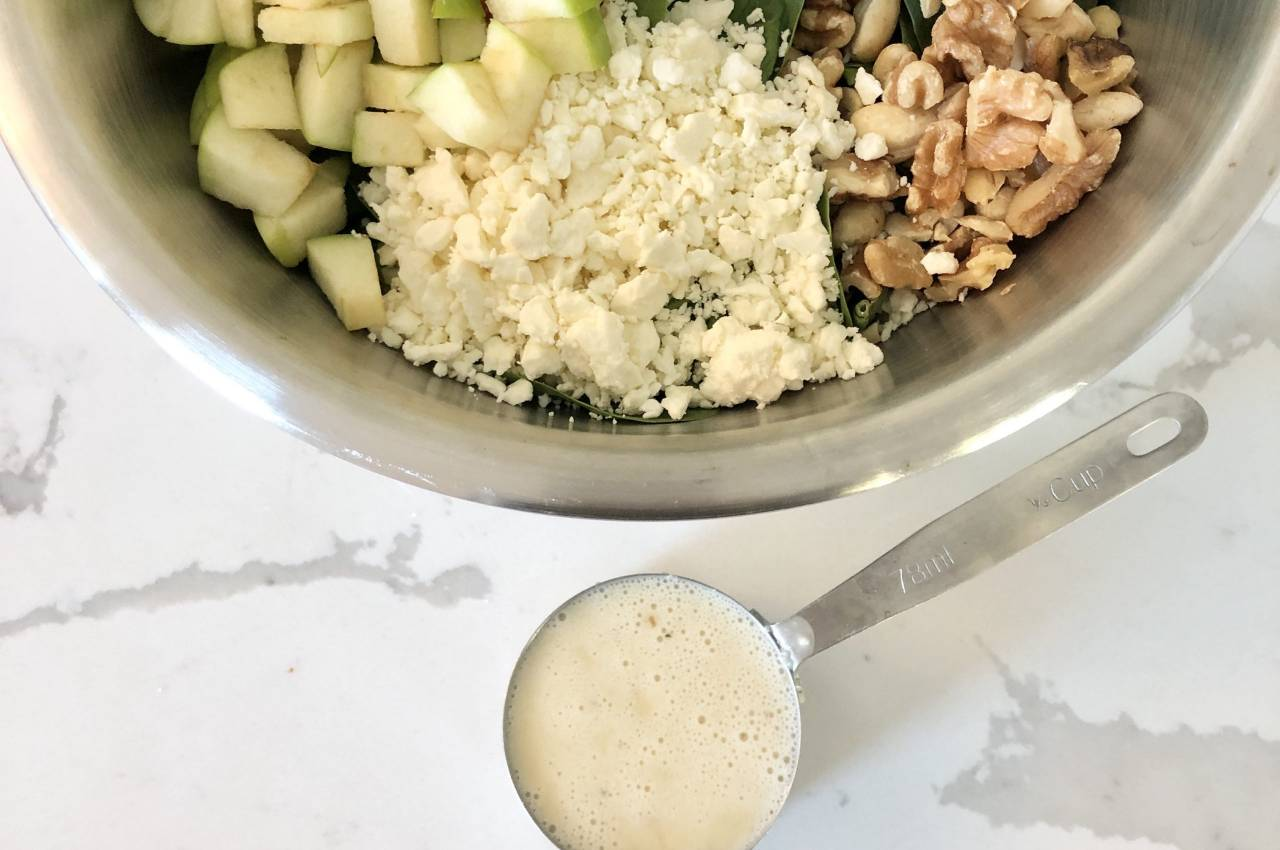 simple apple feta spinach salad recipe