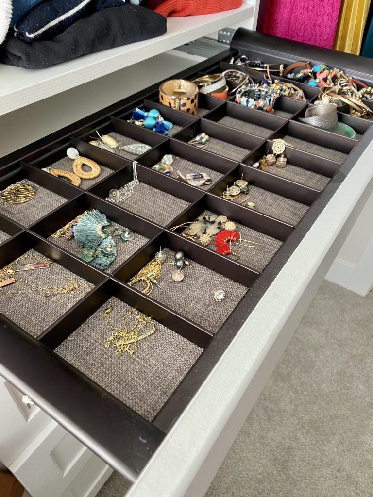 jewelry organization drawer in closet