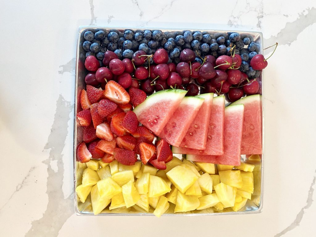 rainbow colored fruit tray for 4th of July
