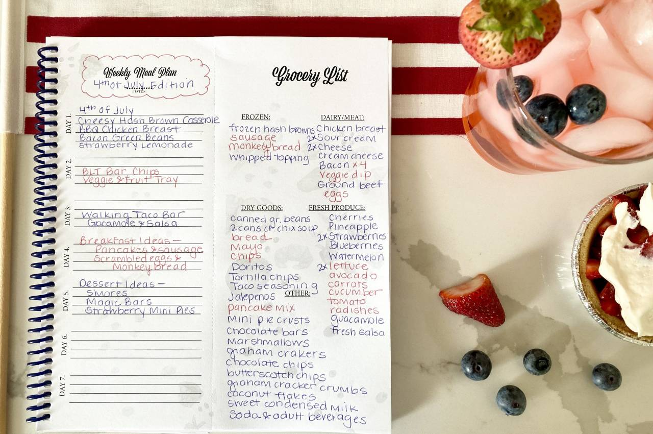 4th of July Meal Plan in Meal Plan Journal