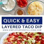 quick and easy layered taco dip recipe and ingredients