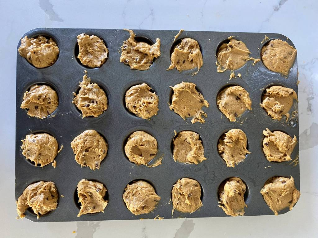 pumpkin chocolate chip mini muffin tin